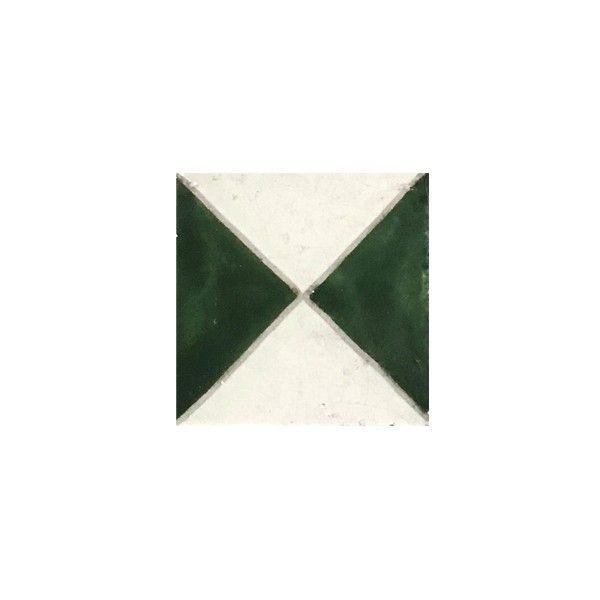 Zellige Cadiz Green Hand Painted Ceramic Tile 4x4 Unique Tile Ston