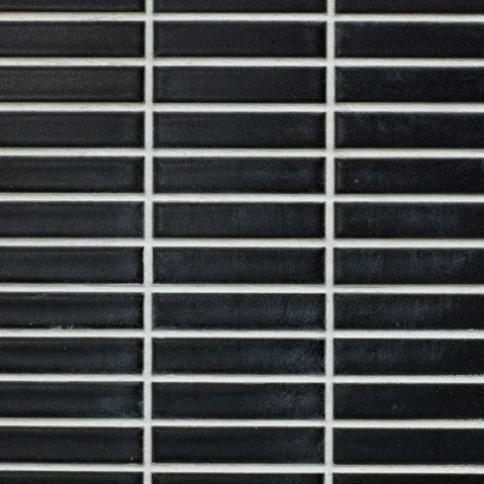 Beltile Matte Black Stacked Mini Rectangles Glazed